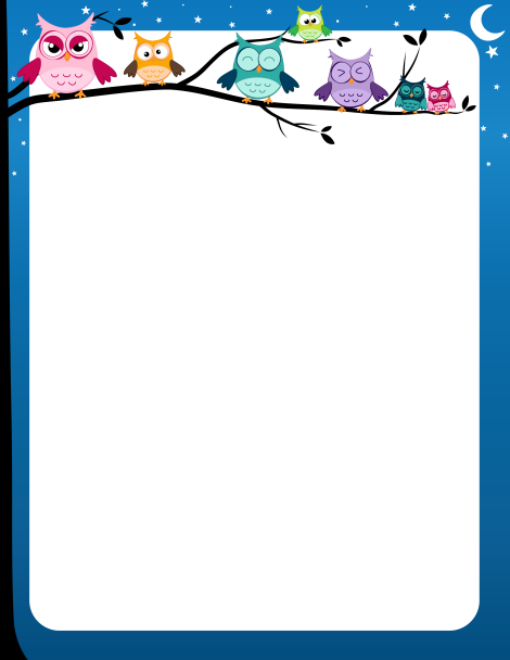 Owl clipart border Free colorful a limb and