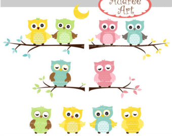 Light Blue clipart owl Branch _Owls Owls Spring Branch