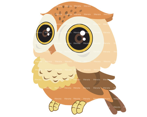 Owl clipart brown Brown Cute scrapbook digital Commercial
