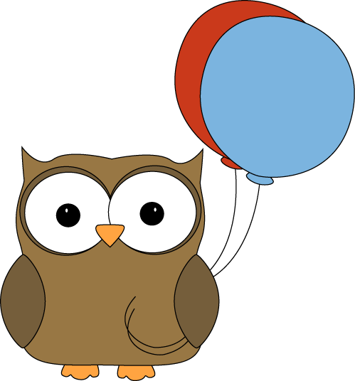 Owl clipart brown Art with Balloons with Balloons