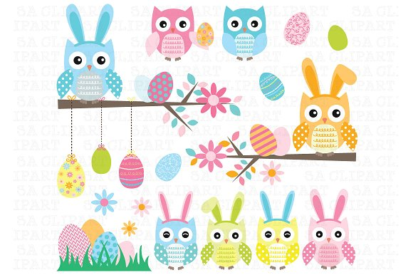 Owl clipart bunny Illustrations ~ Clip Illustrations Easter