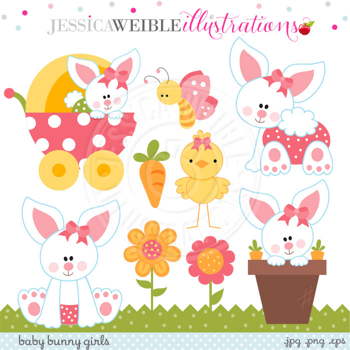 Owl clipart bunny Bunny Easter Digital Bunny Girls