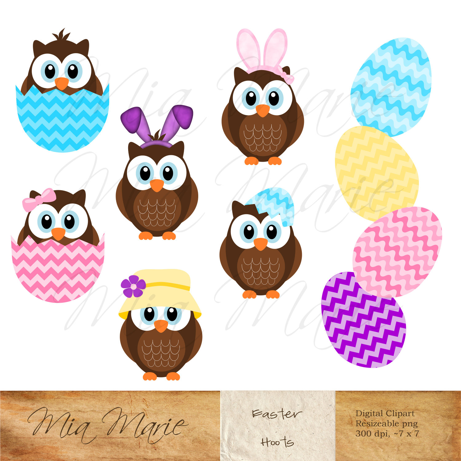 Owl clipart bunny File Art Digital Easter INSTANT