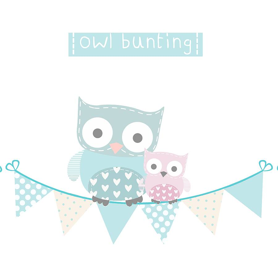 Owl clipart bunting Fabric Wall  bunting by
