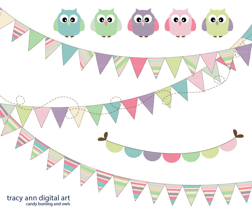 Owl clipart bunting Party Candy and Art Like