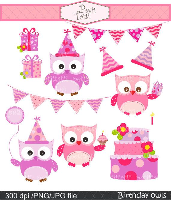 Owl clipart bunting Digital Birthday for instant use