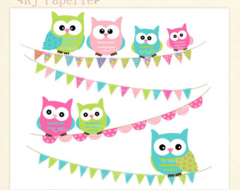 Owl clipart bunting Owl art bunting art clip
