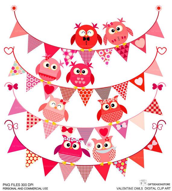 Owl clipart bunting Personal DIGITAL DIGITAL bunting CLIP