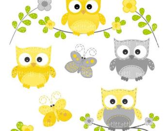 Owl clipart butterfly SALE clipart art birthday grey