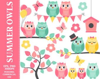 Owl clipart butterfly Summer Owls Owl SALE Art