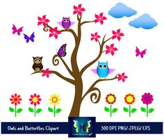 Owl clipart butterfly Butterflies and Commercial EPS Tribal