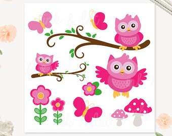 Owl clipart butterfly Etsy Pink Owls Girls Clip