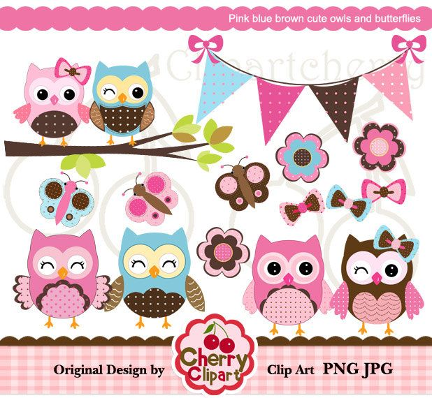 Owl clipart butterfly Card Personal owls Design digital
