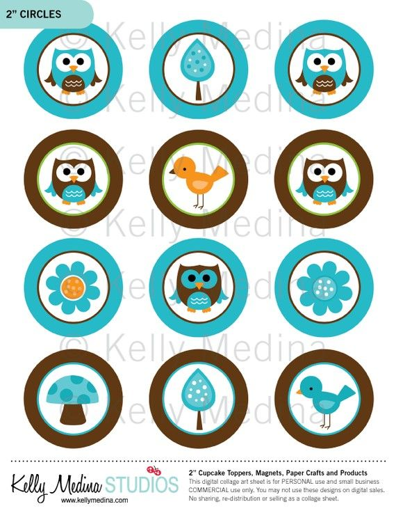 Owl clipart circle Owl Toppers Magnets Brown Pinterest