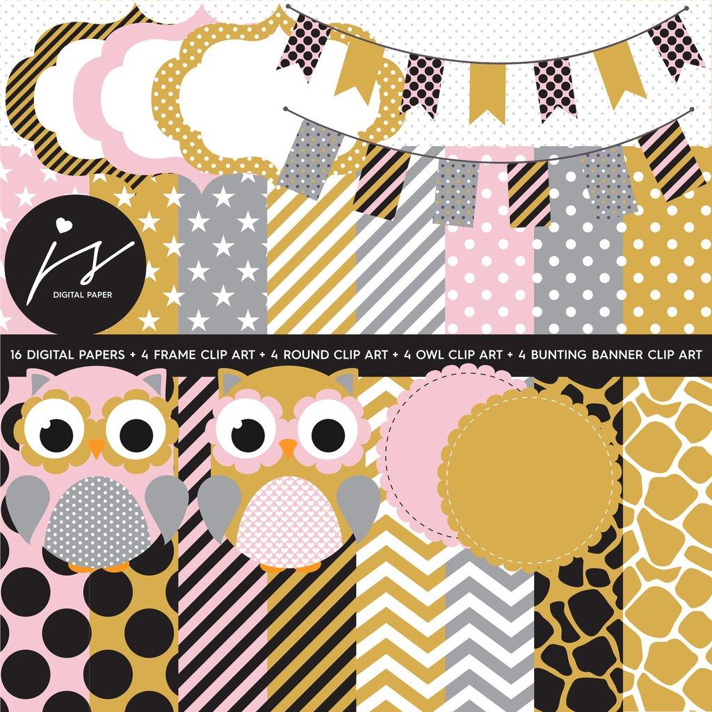 Owl clipart circle Pink Circle Bunting Owl Yellow