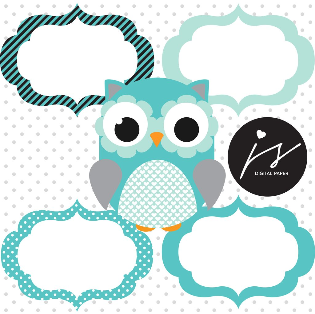 Owl clipart circle  Circle Bunting Owl Grey