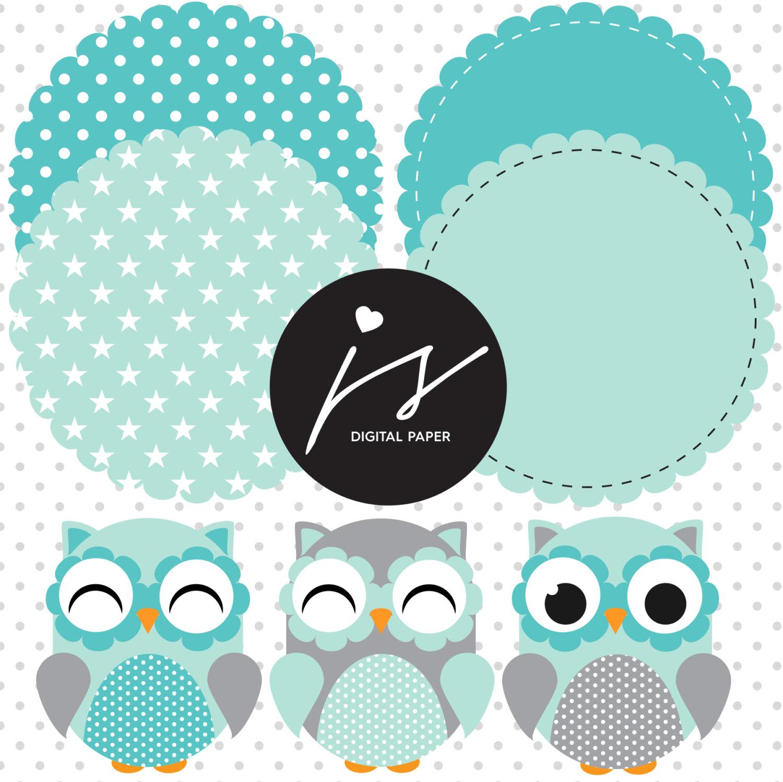 Owl clipart circle This  digital Grey Owl