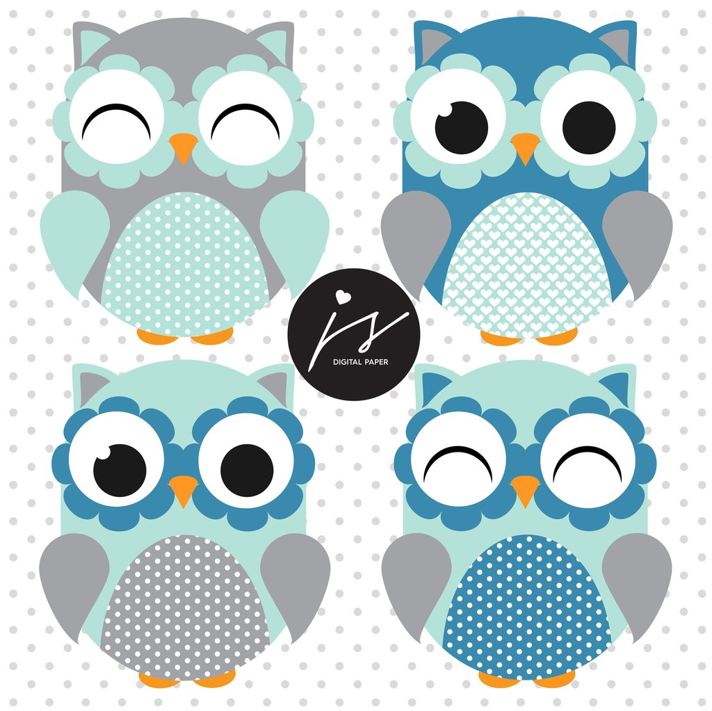 Owl clipart circle  Frames Circle Turquoise Blue