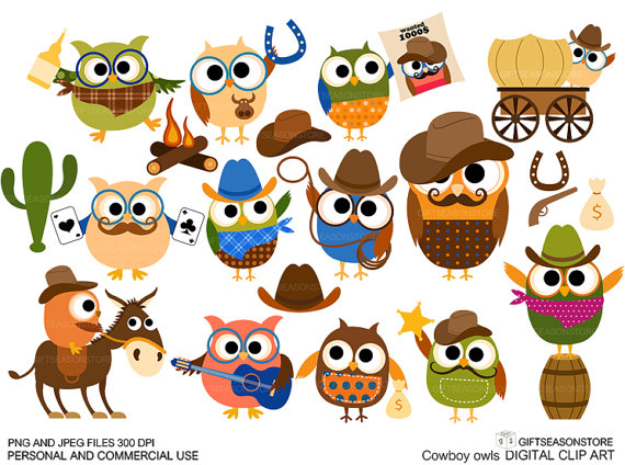 Owl clipart cowboy INSTANT use clip owl and