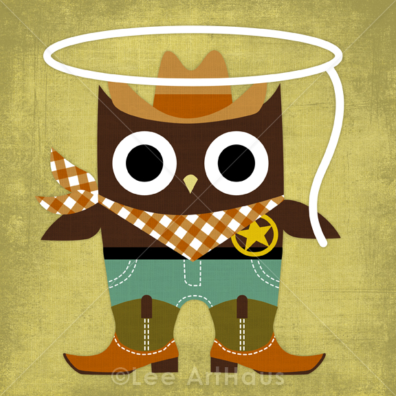 Cowboy clipart owl On Retro 6 Print Luulla