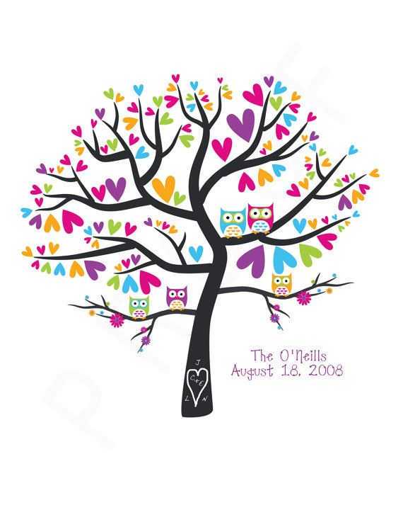 Owlet clipart family tree Tree Date 8x10 best Print