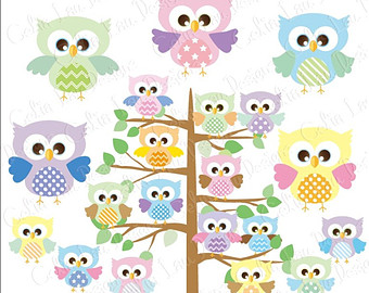 Stripe clipart jungle animal Clipart Digital Owl Clipart owl