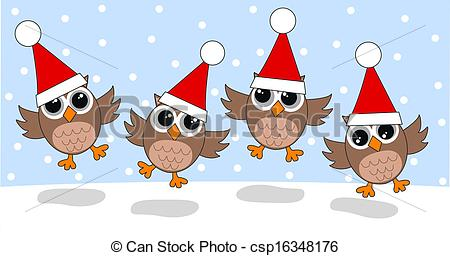 Owl clipart merry christmas Holidays Vectors merry christmas header