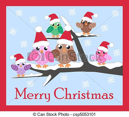 Owl clipart merry christmas Family christmas Stock Illustration csp5053101