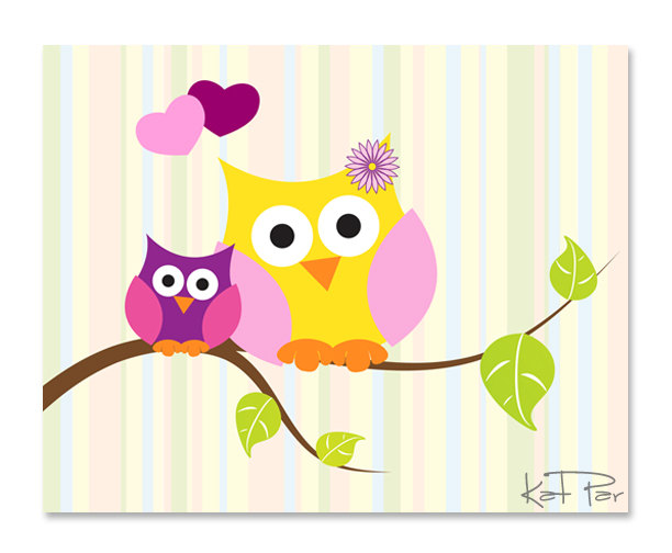 Owl clipart mom Mom baby wall clipart mural