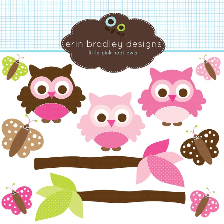 Owlet clipart pink and brown Art Butterflies Green Personal about