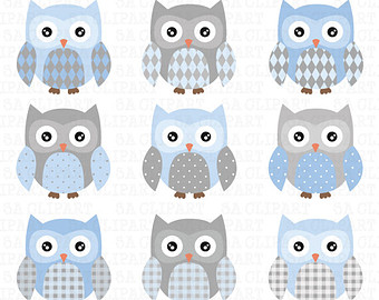 Barred Owl clipart blue owl  Anm012 Download Cute CLIP