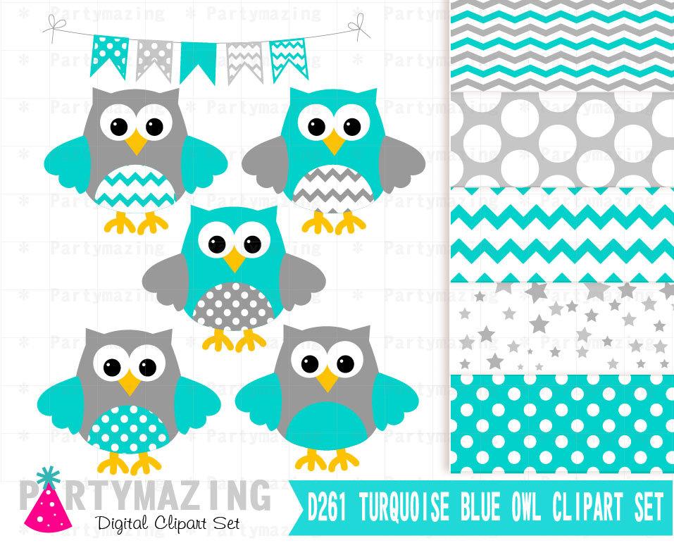 Owl clipart rain Gray  Set ClipArt Clip