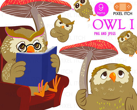 Owl clipart rain Clipart Cute  Reading Clipart