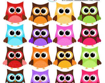 Owl clipart round Rainbow art Round clip Etsy