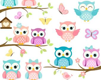 Owl clipart shabby chic Owls Owl OWLS Invitation Digital
