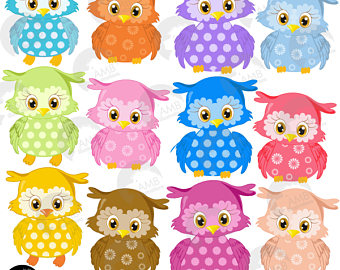 Owl clipart shabby chic Purple Commercial Clipart AMB for