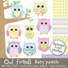 Owl clipart shabby chic Clip all Digital Art use