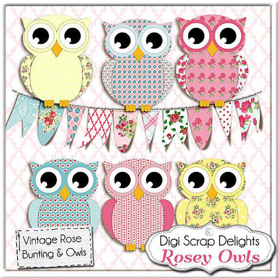 Owl clipart shabby chic Art Kidston Rose Owls/ Shabby