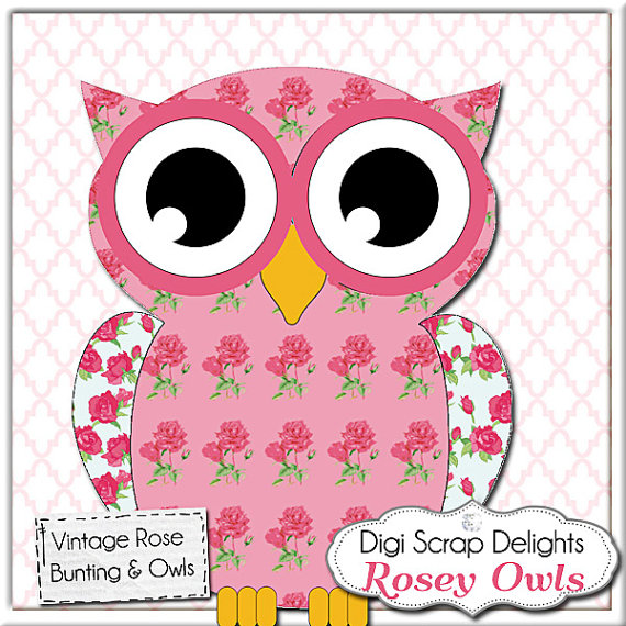 Owl clipart shabby chic Chic Owl Bunting Rose file
