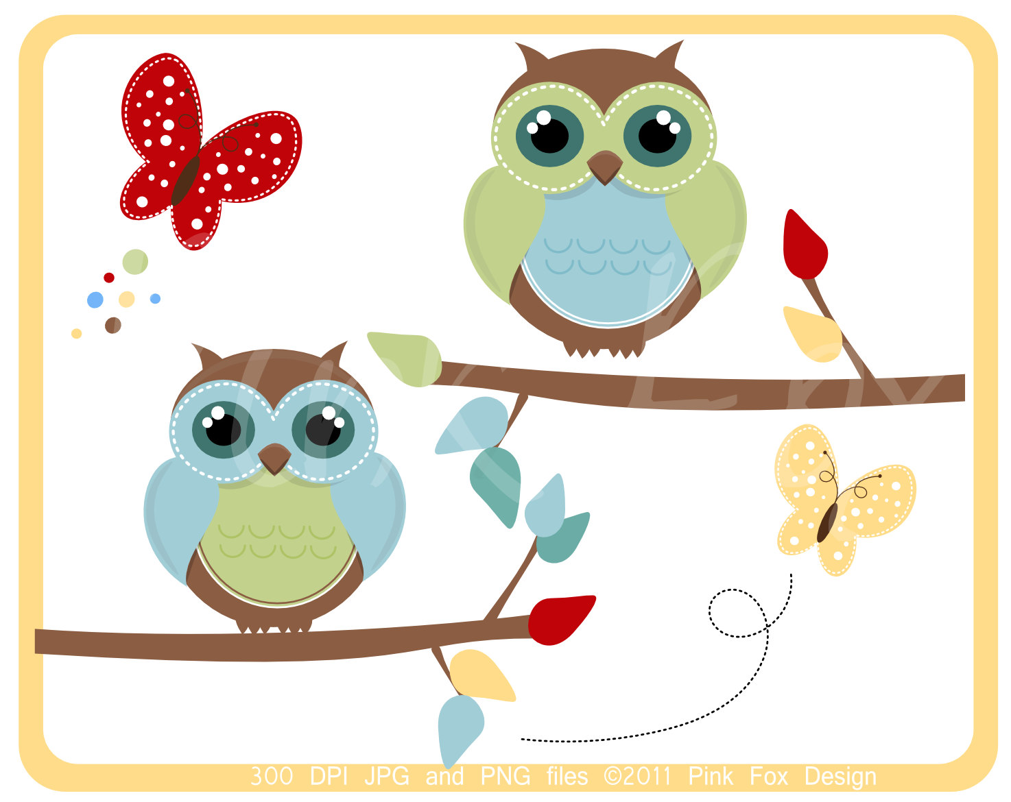 Owl clipart shabby chic Owl spring and digital