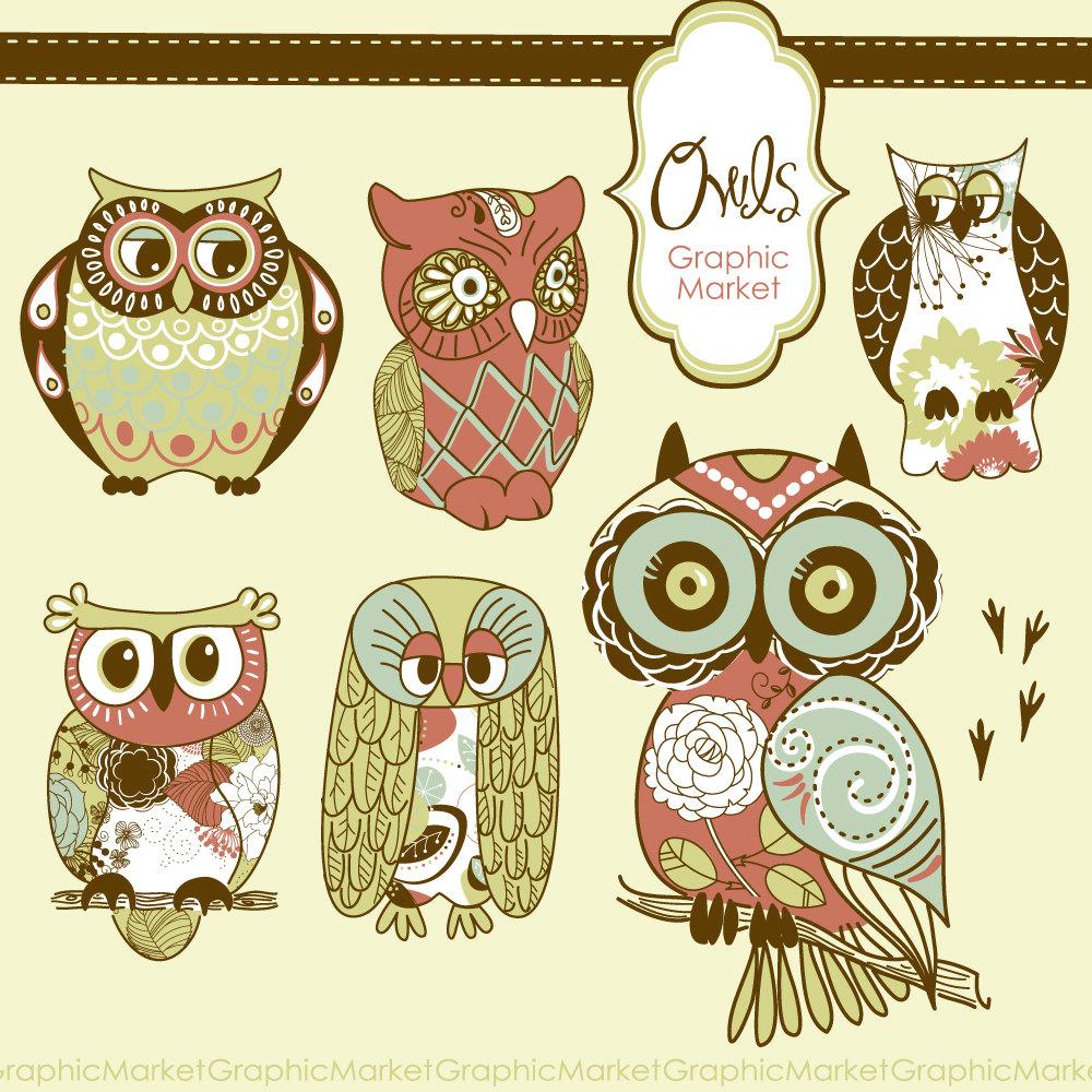 Owl clipart vintage Owl paper clip digital set