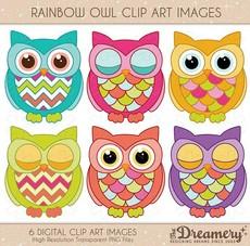 Owl clipart vintage Christmas rainbow Owl Clip Owls