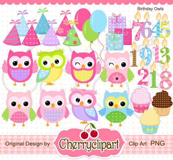 Owlet clipart birthday party Set Birthday Clipart and are