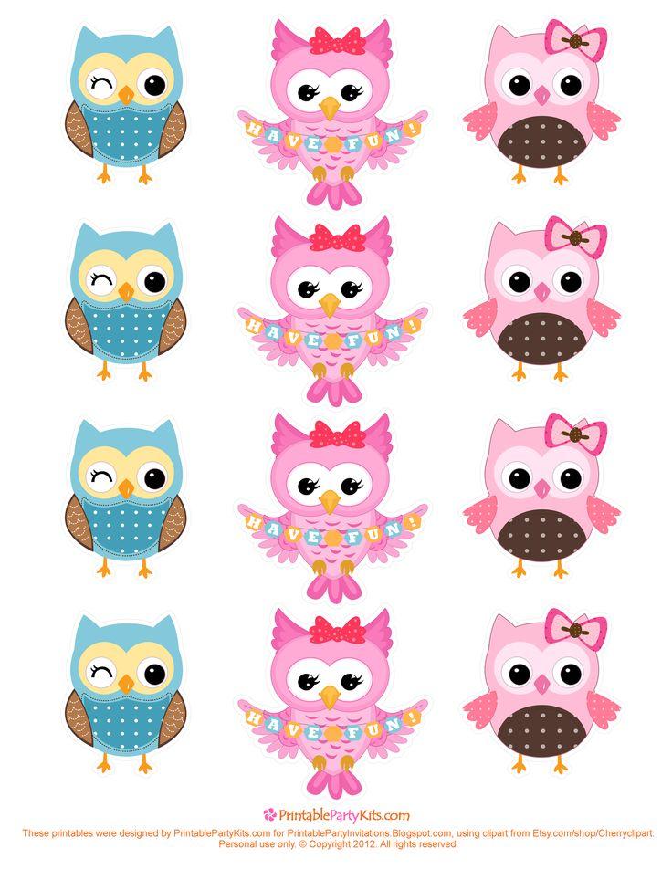 Owlet clipart birthday party Decoraciones Template best Cupcake Pinterest
