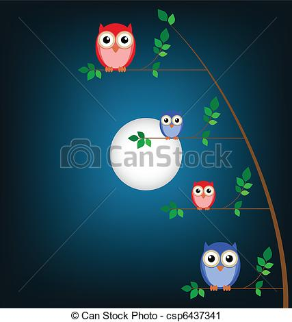 Owlet clipart family tree Tree Vector against sky a