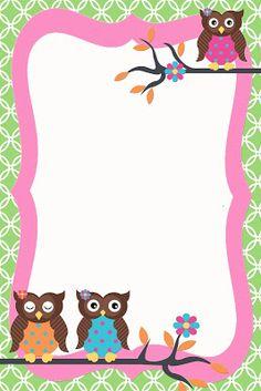 Owlet clipart frame Invitation BÚHOS Girly SGBlogosfera Argüeso: