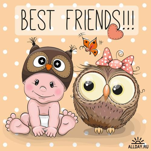 Owlet clipart friend Cute Scrapbooking cartoon Cute cartoon