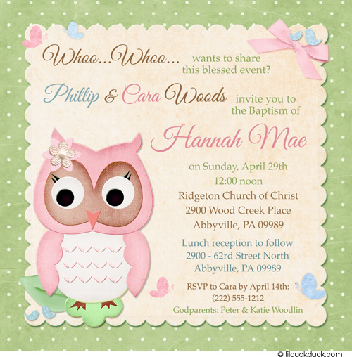 Owlet clipart friend Owl Invitation Baptism  Friends