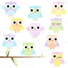 Owlet clipart pastel Creative ~  pink Pink