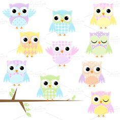 Owlet clipart pastel ~ Owls Illustrations Pinterest Patchwork